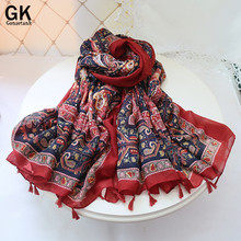 GONZETANNK Luxury Brand 2017 Spring New Women Beautiful Scarves Shawl Sunscreen Beach Blanket Cotton Linen Cashew Flower Scarf
