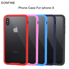 For iphone X Case EonfineTransparent ShockProof Soft TPU and PC Simple Style Anti-Scratch For iphone X Case New(China)