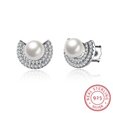 2016 New 100% 925 sterling silver pearl stud earrings with CZ diamonds High quality Pretty birthday present HOT E066