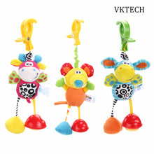 Baby Toys Rattles Mobile Soft Doll Plush Kids Toys for Children Newborns Animal Clip Crib Bed Stroller Hanging Bells Dolls(China)