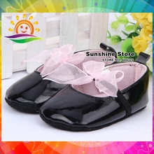 2015 black girls dress baby shoes,soft leather baby girls shoes,lace bowknot andador bebe kids First Walker #2X0131 3 pair/lot(China)