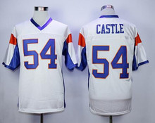SexeMara Stitched Mountain State 54 Thad Castle American Football Jersey White S-3XL Free Shipping