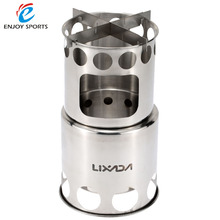 Portable Stainless Steel Stove Outdoor Wood Stove Camping Stove Fire woods Furnace Lightweight BBQ Picnic Stove LIXADA
