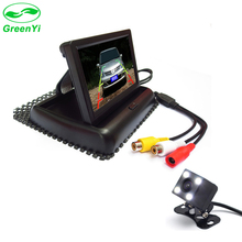 "GreenYi 4.3""color TFT LCD Foldable Display Car Rear View Monitor +  4 LED HD Lights Night Vision Reversing Backup Parking Camer"