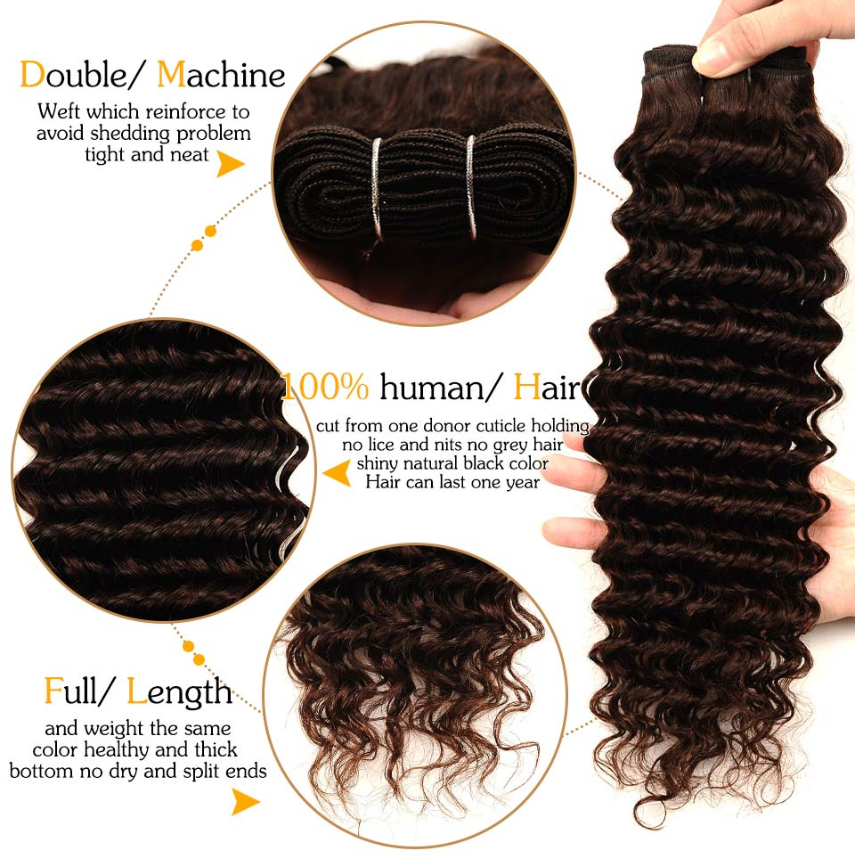 Brown #4 Brazilian Deep Wave Hair 3 Bundles With Closure Deal Pinshair Human Hair Weave Bundle With Middle Part Closure Non Remy (92)