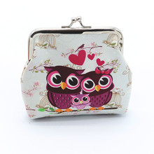 Hot Sale Women Handbag Lady Retro Vintage Owl Printed Pattern PU Leather Small Wallet Hasp Clutch Coin Purse Casual Cute HandBag