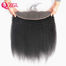 Dreaming Queen Hair Pre-Plucked Kinky Straight Lace Frontal Closure 13x4 Peruvian Remy Human Hair Frontal With Baby Hair
