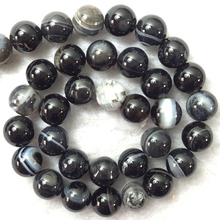 Fashion white black stripe onyx round carnelian agat 6mm 8mm 10mm 12mm high quality stone loose beads jewels making 15inch BV213