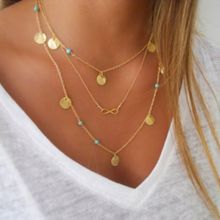 N374 2017 jewelry Europe and America personality simple multi-wafer geometry 8 characters necklace Clavicle chain for women