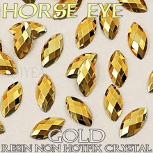 Good quality! 3x6mm 4x8mm Gold Aurum Nail Art Horse Eye Resin Crystal Non Hotfix Flat back Rhinestone glitters for 3D Nail Stone(China)