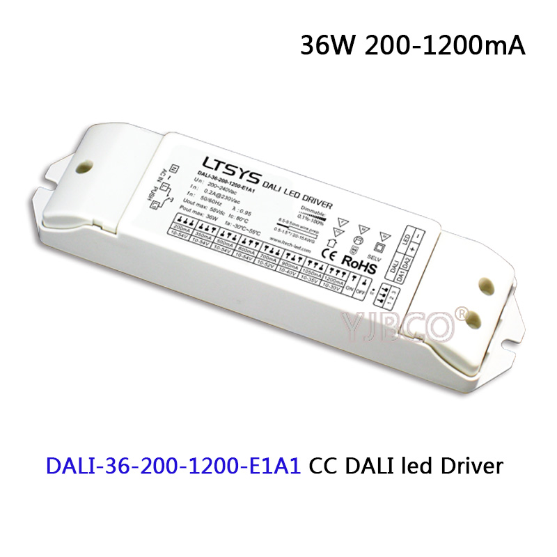 LTECH CC led Dimming Driver;DALI-36-200-1200-E1A1;AC200-240V input; 36W 200-1200mA DALI (IEC62386),Push DIM CC led Driver power<br>