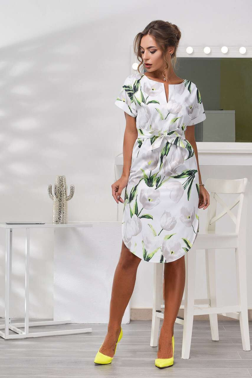 2018 Spring Summer Printed Women Dress O-Neck Hem Side Split Ladies Dresses Tie Sashes Short Sleeve Casual Sexy Female Vestidos 11