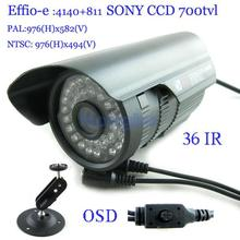 "Security 1/3"" Sony Effio CCD 700TVL OSD menu IR 30m outdoor waterproof CCTV camera with Bracket"