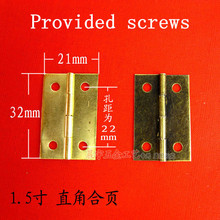 32*21MM 1.5 inch right-angle hinge Cabinets Hardware Accessories Special copper hinge wooden box Provided screws Wholesale(China)
