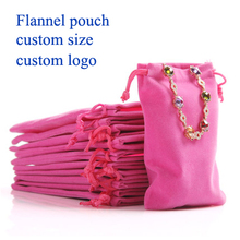 (50 pcs/lot)Flannel drawstring bag Pouch Electronics Packaging Christmas/Wedding Gift Bag custom jewelry pouch custom logo8x10cm
