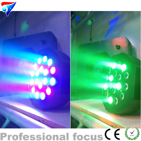 Cheap18 x 3W RGB DMX Stage Lights  Led Flat Par  with Professional for Party KTV Disco DJ<br>
