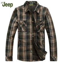 2017 AFS JEEP Male Models Lattice Long Sleeves Warm Shirt Thick Casual Shirt Comfortable  Men Winter Shirt Top 140