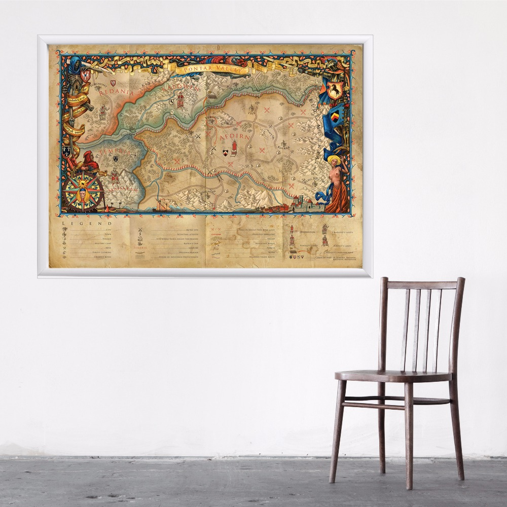 Witcher Map Game Canvas Art Print Painting Poster Wall Pictures For Room Home Decoration Wall Decor