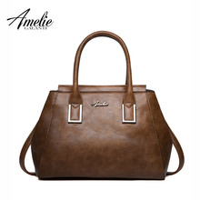 AMELIE GALANTI 2017 vintage women Handbags famous designer Tote fashion top-handle with slit pocket versatile to keep made of PU