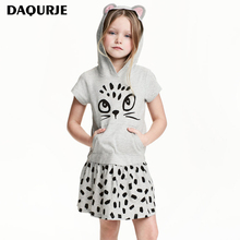 DAQURJE Girls Dress Summer Casual Girls Clothing 100% Cotton Baby Girls Print Dresses Bow Kitty  kids clothes children clothing
