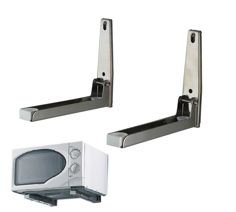 microwave oven holder wall mounted shelf rack bracket retractable oven rack thickening material holder cooking tools<br>
