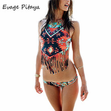 2017 strappy bikini print Fringe cut out biquines 2017 high neck swimwear cheap bikinis for sale ladies swimsuit thong swim suit