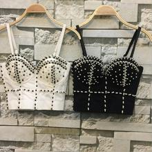 Plus Size Gorgeous beading Jewel Pearls Diamond Mesh Breath Push Up 2017 New Bralet Women's Bustier Bra Cropped Top Vest w1173