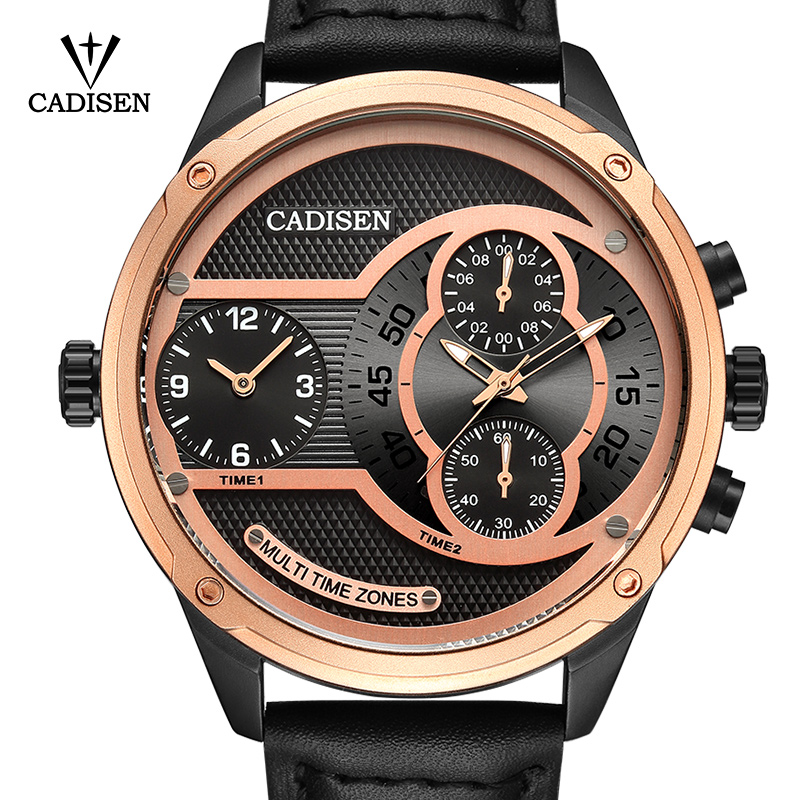 2017 New Luxury Brand CADISEN Men Watch Quartz Watches Big Design Dual time zone Casual Military Waterproof Wristwatch relogio<br>