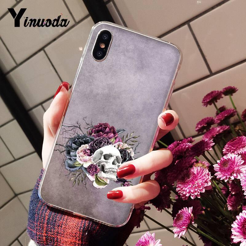 skull floral flower aesthetic art pattern