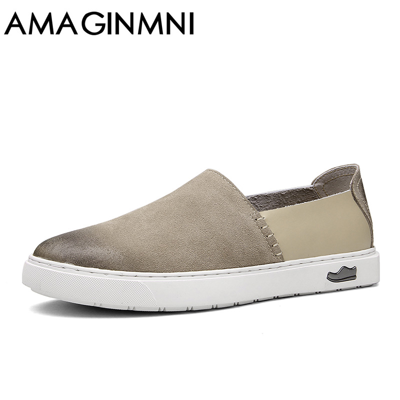 AMAGINMNI 2017 New Comfortable Casual Shoes Loafers Men Shoes Quality Split Leather Shoes Men Flats Hot Sale Moccasins Shoes<br>