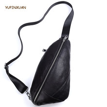 YUPINXUAN Fashion Designer Cow Leather Chest Bags for Men Korea Stylish Sling Phone Bags Black Real Leather Male Bags Russian(China)