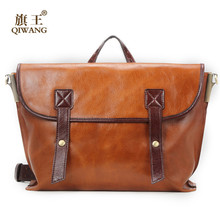 Qiwang Luxury Genuine Leather Oil Wax Bag Bamboo Fiber Quality Bag Hold A4 Handbag for Woman Luxury(China)