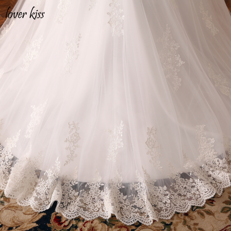 Lover Kiss Vestido De Noiva Custom Sheer Tulle Long Sleeve Wedding Dress Corset Back Lace Ball Gown Bridal Gowns For Weddings 6