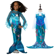 2017 New Girls Mermaid Dresses with Pearl Children Halloween Little Mermaid Ariel Cosplay Costumes for Kids Carnival Party Dress