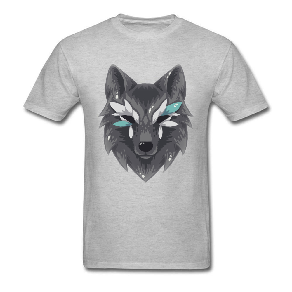 The Wolf Men Graphic Normal Tops & Tees Round Collar Summer Fall 100% Cotton Top T-shirts Design Short Sleeve T Shirts The Wolf grey