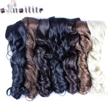"S-noilite 18-28"" 43-73CM Curly Long Synthetic Hair Clip In Hair Extension Heat Resistant Hairpiece Natural Wavy Hair Piece"