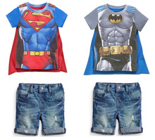 free delivery 2017 new boy set Children hot summers superman batman T-shirts + cloak + jeans three-piece suit baby kids clothes
