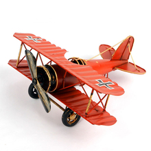 Retro Biplane Propeller Fixed Wing Fighter Model for The Red Baron Handmade Metal Aircraft Creative Desktop Home Decorations(China)