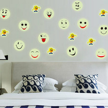 Glow in The Dark Luminous Fluorescent PVC Removable Vinyl Wall Stickers Emoji Smiley Face pegatinas decoration in home #TX5(China)