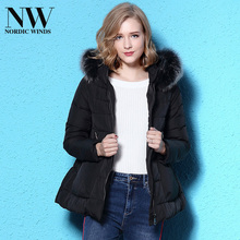 Waterproof Down Coats Women Parkas Short Black Winter Down Hooded Coat With Real Fox Fur Collar Best Thick Warm Down Jacket 2017(China)