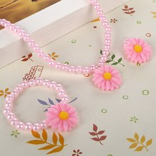 Friendly Resin Infant Nice Baby Flower Necklace Bracelet Finger Ring Set Kids Jewelry Set Children Accessories Handmade(China)