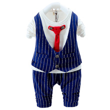 Boy suit shirt + trousers boy wedding dress children gentleman casual chic suit 1-3 years old (2017) new design cotton(China)