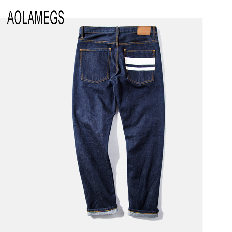 Aolamegs Men Jeans Fashion Straight Denim Trousers Top Quality Red Line Design 2016 Autumn Tide Brand Letter Printed Jeans HommeОдежда и ак�е��уары<br><br><br>Aliexpress