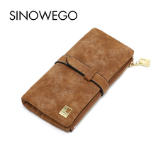 New Fashion Women Wallets Luxury Brand Leather Wallet Female Card Holder Coin Purse Wallet Women Bag Wristlet Small Bag Envelope(China)