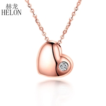 HELON Love Heart Round Natural Diamonds Wedding Chain Pendant Solid 18K Rose Gold Exquisite Pendant Necklace Women Fine Jewelry(China)