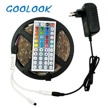 Goolook LED Strip Light RGB 5050 SMD 5M 10M RGB Light Strip Led Flexible Tape+ IR Remote Controller+Lamp Ribbon Power adapter(China)