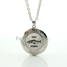 Vintage tone fish character picture pendant Gone Fishing locket necklace men accessory marine life charm jewelry HH305