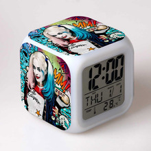 2016 Suicide Squad Harley Quinn Figurin Joker Figma juguetes Alarm Clock LED Colorful Touch Light PVC Figurine Toy for Boys