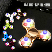 LED Plastic Fidget Spinner Hand EDC Luminous Plating Hand Spinner Relieve Stress Glowing Tri-Spinner Old Adult Kid Gift Toy