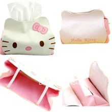 Cute PU Leather Hello Kitty Tissue Holder Household Car Application Removable Tissue Box Cover Container Napkin Paper Towel Box